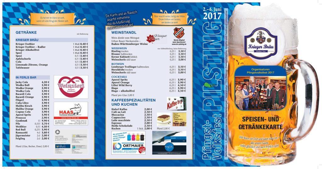 Speisekarte Volksfest Pilsting 2017 Seite 2